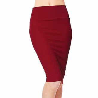 Joyjay Clothing Midi Pencil Skirts Knee Length Stretchy High Waist Ladies Plain Jersey Bodycon Skirt Plus Size JoyJay Amazon's Choice-UK (Black S)