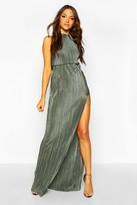 boohoo Tall Plisse Thigh Split Maxi Dress