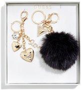 GUESS Black Pom Charm Keychain Set