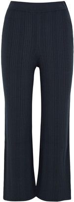 MAX MARA LEISURE Guisy navy cropped ribbed-knit trousers