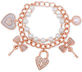GUESS Rose Gold-Tune Imitation Pearl and Pavé Charm Bracelet