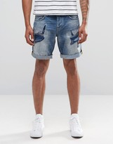 Celio Denim Shorts With Heavy Rip Repair Detail