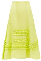 Molly Goddard Jane Ruffled Cotton Skirt - Womens - Green