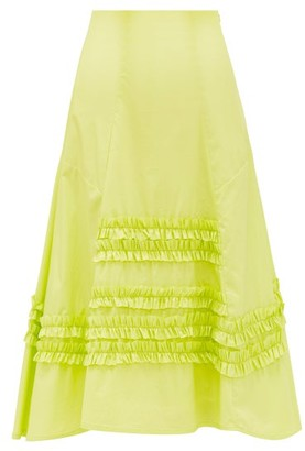 Molly Goddard Jane Frilled Cotton-paper Skirt - Green