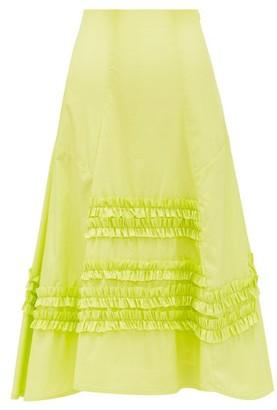 Molly Goddard Jane Ruffled Cotton Skirt - Womens - Green