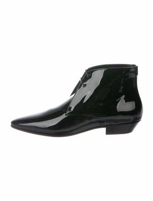 Saint Laurent Patent Leather Printed Lace-Up Boots w/ Tags Black