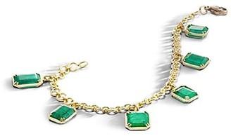 Sylva & Cie 18K Yellow Gold & Emerald Charm Bracelet