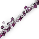 Ice Rhodium Nickel Plated Sterling Silver Charm Bracelet with Crystal Beads