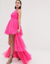 Lace & Beads tulle layered maxi dress in neon pink