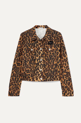 Miu Miu Cropped Leopard-print Denim Jacket - Brown