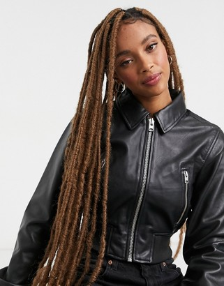 Topshop Premium leather bomber jacket in black