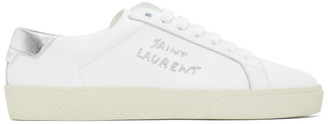 Saint Laurent White and Silver Court Classic Sneakers