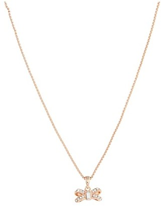 Ted Baker Sabena Crystal Sparkle Bow Tiny Pendant Necklace (Silver/Crystal) Necklace