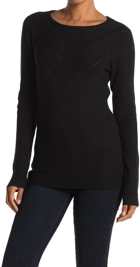 Cyrus Textured Front Knit Sweater