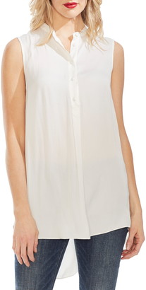 Vince Camuto Sleeveless Satin Henley Tunic