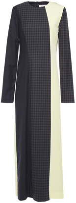 Maison Margiela Checked Wool-blend Twill And Crepe Maxi Dress