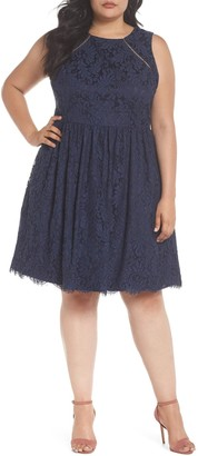 Eliza J Fit & Flare Lace Dress (Plus Size)