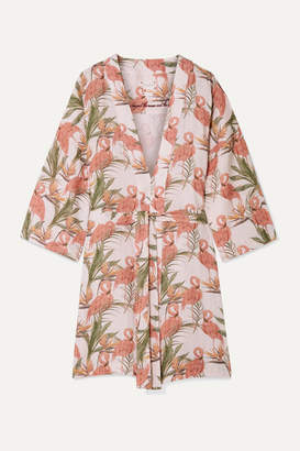 The Lazy Poet - Lola Printed Linen Robe - Pastel pink