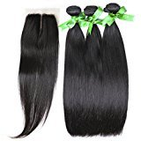 """GoldRose Hair Grade 5A Brazilian Silky Straight Hair 3 Bundles 22''24''26'' With Closure Middle Part 18'',Silky Straight Hair Brazilian Virgin Hair With 4""""x4"""" Lace Closure,100%Unprocessed Virgin Human Curly Weave Hair Bundles"""