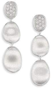 Marco Bicego Lunaria Small Diamond& 18K White Gold Triple Drop Earrings