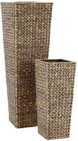 Very Set of 2 Medium Sized Arrow Weave Vases with Square Base - Grey