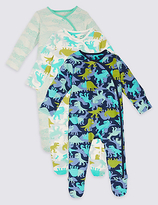Marks and Spencer 3 Pack Pure Cotton Dinosaur Sleepsuits