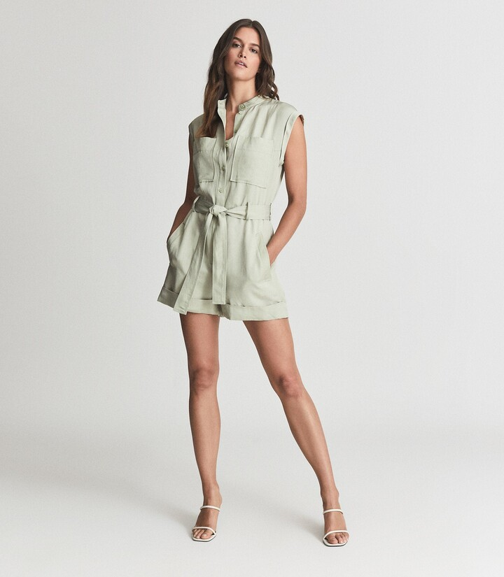 Thumbnail for your product : Reiss Joe - Linen Blend Playsuit in Green