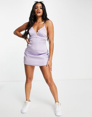 Lost Ink lace insert cami slip dress in lilac