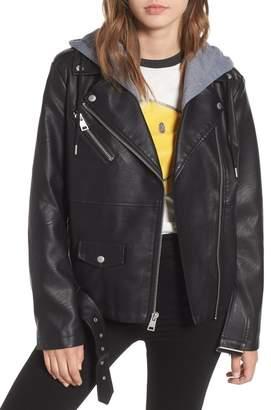 Levi's Knit Hood Oversized Faux Leather Moto Jacket