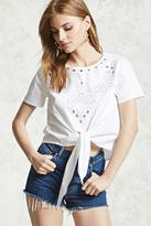 Forever 21 Embroidered Cut-Out Top