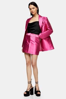 Topshop Womens Pink Satin Mini Skirt - Pink