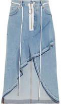 Off-White Asymmetric Wrap-effect Ruffled Denim Skirt - Light denim