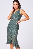 Little Mistress Girls on Film Cupid Fern Green Lace Pephem Midi Dress