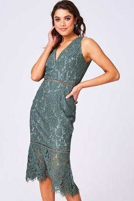 Girls On Film Cupid Fern Green Lace Pephem Midi Dress