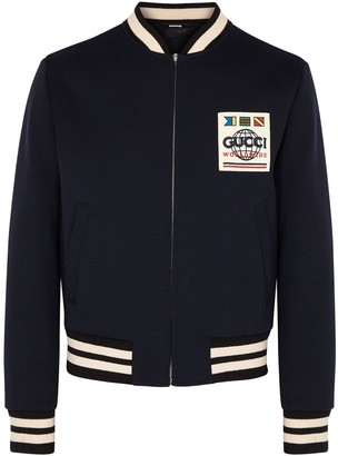 Gucci Navy wool-blend bomber jacket