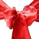"10pcs 8""x108"" Organza Chair Sash Ribbons Bow Wedding Party Banquet Decor (Red)"