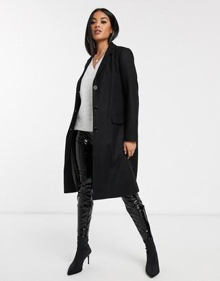 Helene Berman 3 button slim collage coat in wool blend