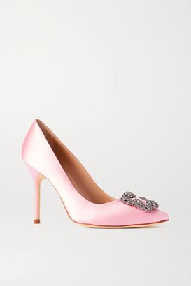 Manolo Blahnik Hangisi Embellished Satin Pumps - Baby pink