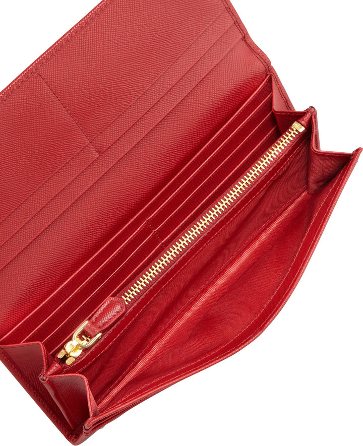 Prada Saffiano Triangle Continental Flap Wallet, Red (Fuoco)
