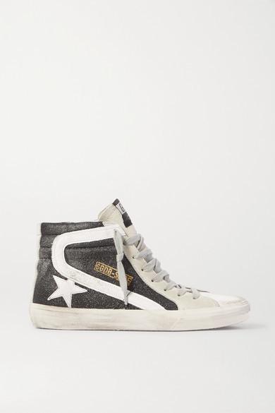 Golden Goose Slide Glittered Distressed Suede High-top Sneakers - Black