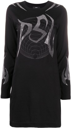 Diesel crystal-embellished long-sleeved T-shirt