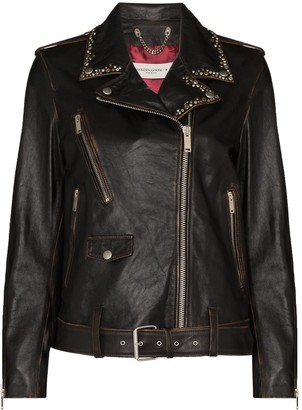 Golden Goose Stud-Embellished Leather Biker Jacket
