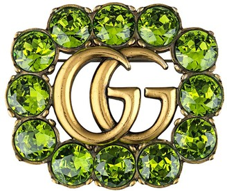 Gucci Double G crystal brooch
