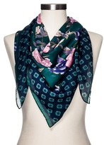 Merona Women's Fashion Scarf Dark Green and Navy Floral