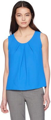 Kasper Women's Petite Crepe Pleat Neck Tank