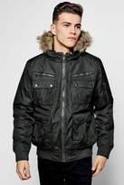 Boohoo Short Parka With Fur Lined Hood
