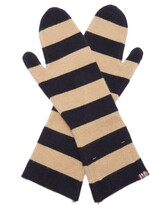 Thumbnail for your product : Extreme Cashmere Nina Striped Cashmere Mittens - Navy Multi