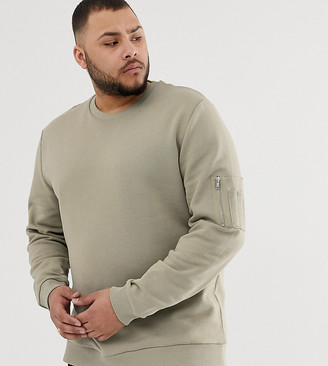 Asos Design DESIGN Plus sweatshirt with MA1 pocket in green