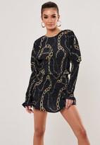 Missguided Navy Co Ord Chain Polka Dot Shirred Mini Skirt
