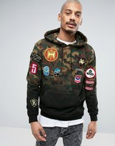 Reason Hoodie In Camo Dip Dye With Patches